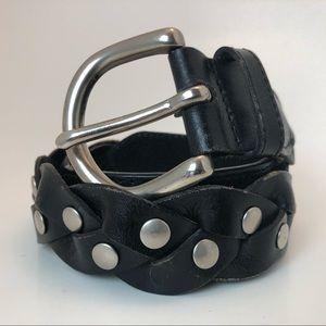 Black Genuine Leather Braided Belt